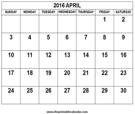 Calendar Printable 2016 April April 2016 Calendar Template 2016