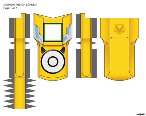 Digimon Digivice Papercraft - yellow xros fusion page 2 of 2 by randyfivesix on deviantart