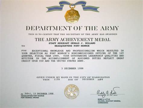 army achievement medal certificate template army achievement medal certificate template army