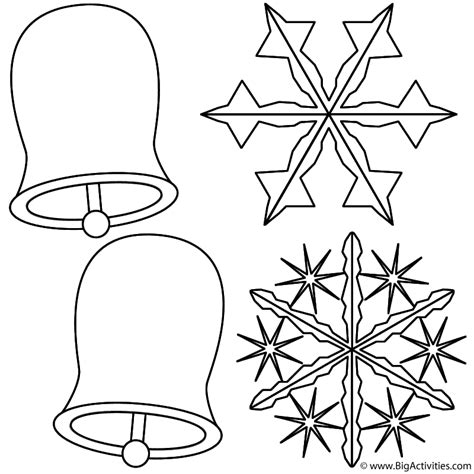 bells  snowflakes coloring page christmas
