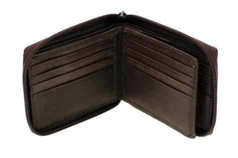 Cowhide Wallet - leather wallet bifold zip around center flap id