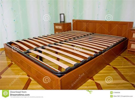 bed  wooden slats  bed frame stock photo image