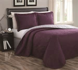 plum colored bedding cressida plum gray reversible bedspread quilt set