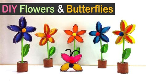 How To Make Waste Paper Flowers - toilet paper roll crafts diy flowers and butterflies out