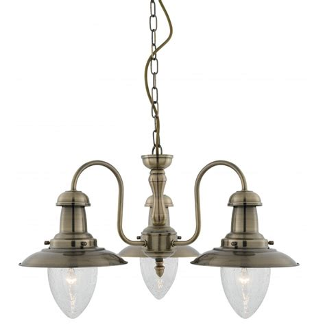 fisherman style antique brass ceiling pendant with 3 bulbs