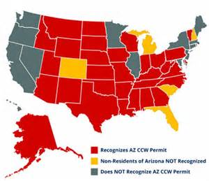 arizona ccw reciprocity map az ccw reciprocity with other states