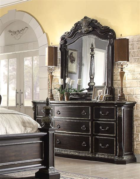 4 pc bedroom set matteo gothic style 4 pc california king bed set in ebony