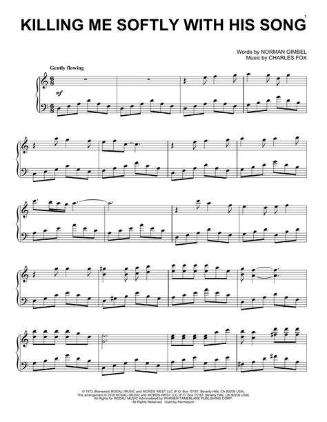 tutorial piano killing me softly fugees killing me softly with his song sheet music