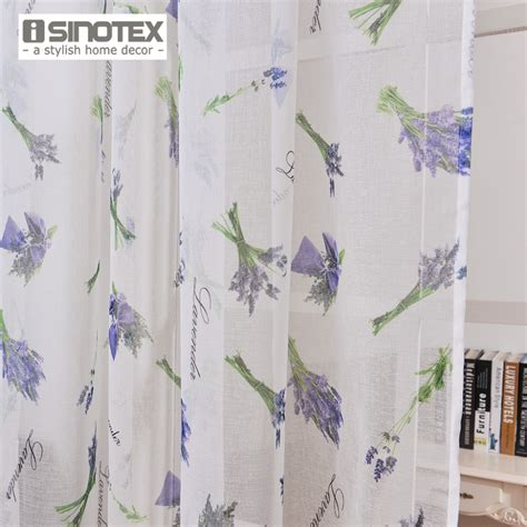 Lavender Window Curtains Isinotex Window Curtain Lavender Printed Pattern Transparent Sheer Linen Cotton Fabric For Home