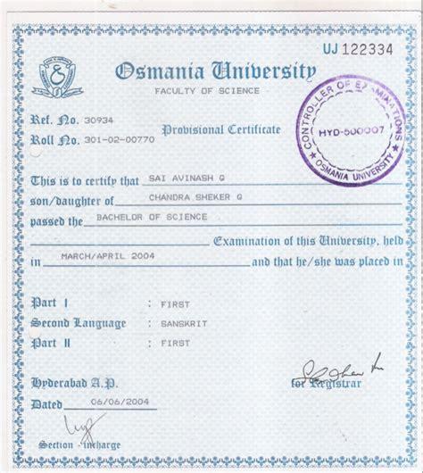Bcom Mba Nit Warangal Linkedin by Provisional Certificate Of Degree