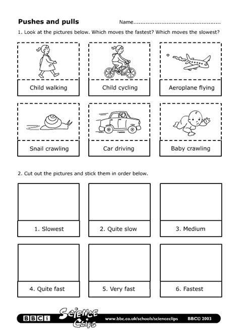 Push And Pull Worksheets For Kindergarten by Schools Science Pushes And Pulls Worksheet