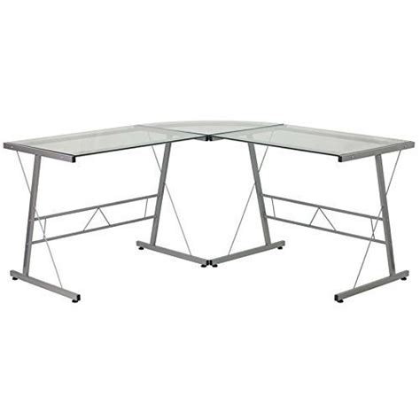 Metal L Shaped Desk Modern Silver Metal L Shaped Desk With Glass Top And Floor Glides Silver Metal Desks And Metals