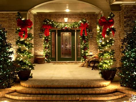 decorating home for christmas use of lighting and decorative plants to the outdoor for