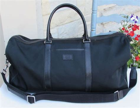 Coach Bleeker Leather Large Duffle by Coach Black Footed Travel Bag Large Leather Trimmed Duffel