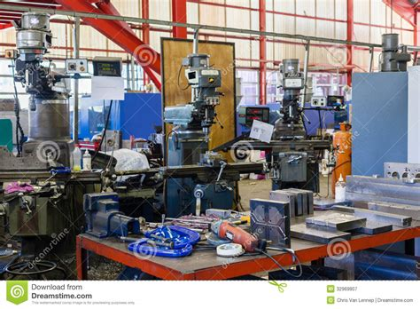 machine shop work bench engineering machine shop editorial photography image