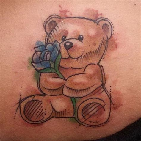 watercolor tattoo with black outline 45 sweet teddy tattoos for your 2018