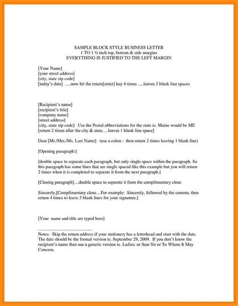 Business Letter Writing Style Exle Of A Block Business Letter Format Cover Letter Templates