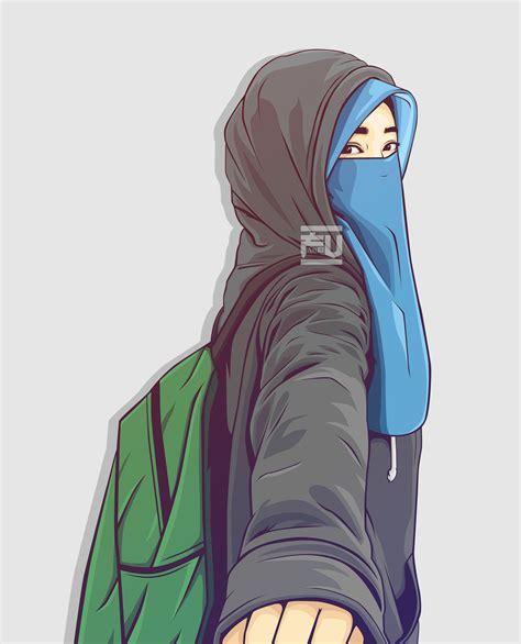 vector hijab niqab atahmadfu kartun ilustrasi