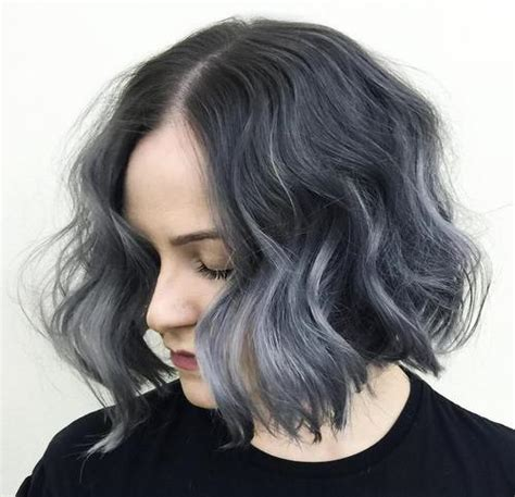 picture of gray wavy bob styling routine for grey hair hairstyles worn straight