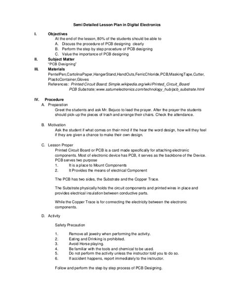 detailed lesson plan template sle semi detailed lesson plan in digital electronics