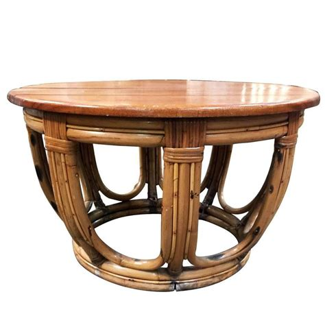 Restored Coffee Table Restored Circular Rattan Coffee Table With Mahogany Top For Sale At 1stdibs