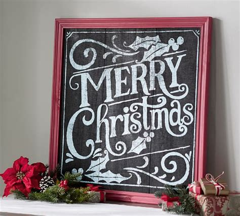merry christmas chalkboard sign wall art pottery barn