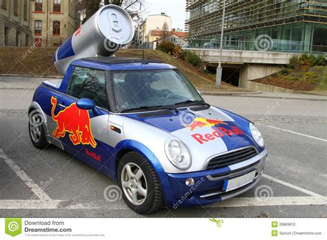 red bull mini cooper publicity car editorial photography