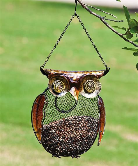 metal owl bird feeder gardening backyard pinterest