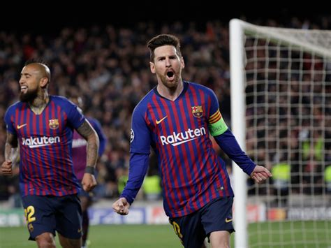 sublime messi leads barcas rout  lyon football gulf
