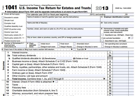 irs section 1041 1041 tax form 2017 download pdf