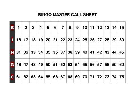free printable bingo call sheet bingo