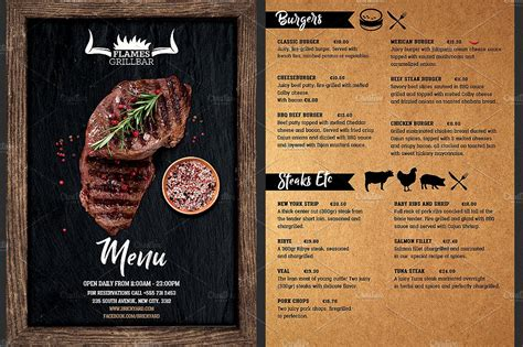 grill restaurant menu flyer template flyer templates
