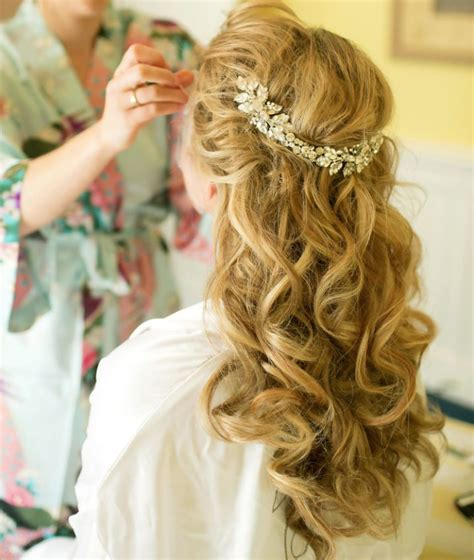 wedding hairstyles long curls long curly wedding hairstyles with headband full dose