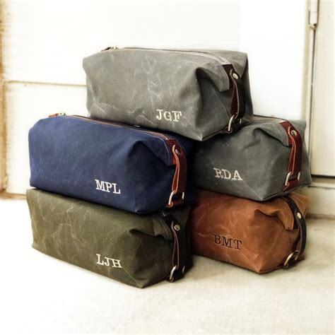 personalized mens toiletry bags groomsmen gift waxed