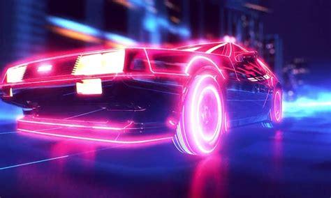 car wallpaper retro new retro wave synthwave 1980s neon delorean car