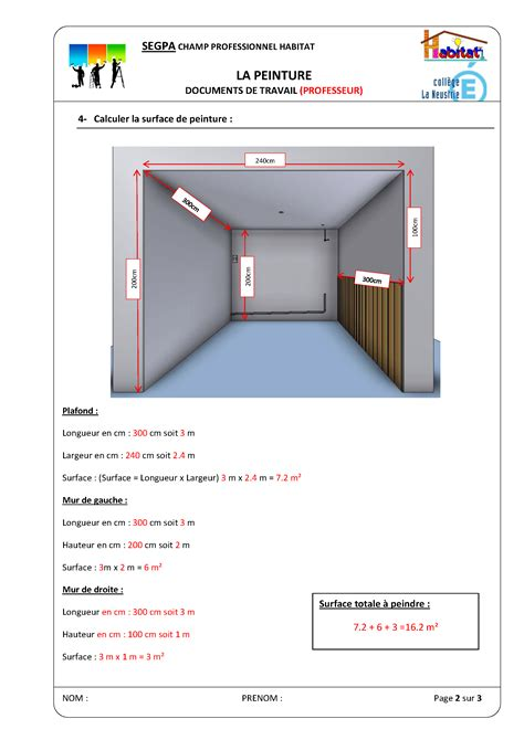 Calcul Surface à Peindre 5437 by Calculer Surface A Peindre Maison Avie Home
