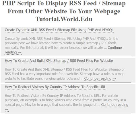 tutorial website script php script to display rss feed sitemap from other