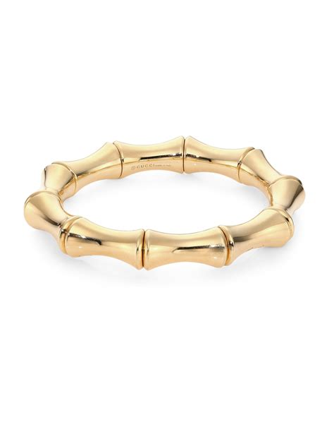 gucci bamboo 18k yellow gold bangle bracelet in gold lyst