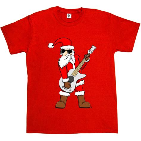 Kaos Santa Santa Tshirt by Rock Santa Claus Rocking Cool Mens T