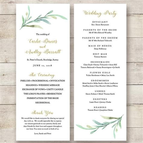 wedding order of service cards template best 25 wedding program templates ideas on