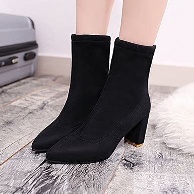 Heels Boot Simple Suede s simple faux leather and faux suede ankle boots