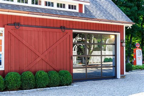Garage Door Opener For Barn Doors Sliding Barn Door Open Revealing Glass Garage Door