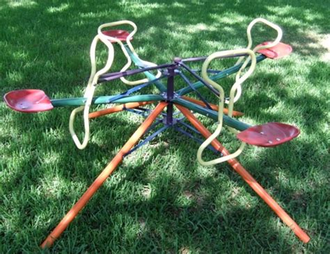 backyard merry go round toys from the 1960s 1970s that would never pass modern