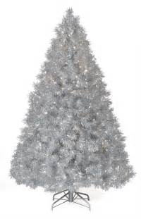 6 ft silver tinsel clear lit christmas tree christmas