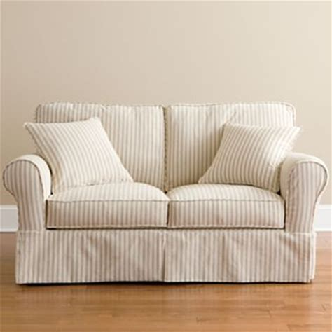 linden street slipcovers friday stripe slipcovered sofa tan