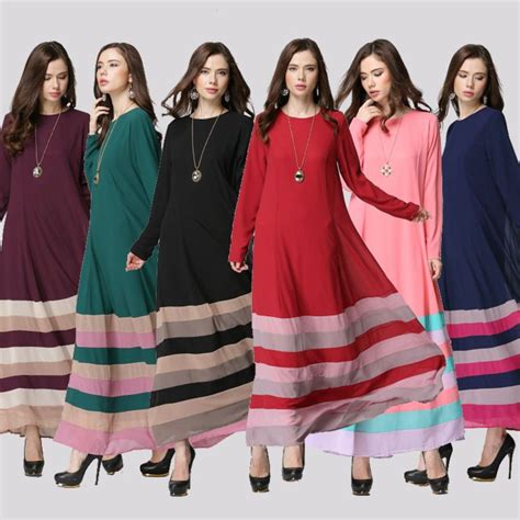 Outer Dress Maxi Wanita Muslim Obig Polos Fit Xl color rainbow muslim abaya dresses islamic djellaba dresses summer big yards