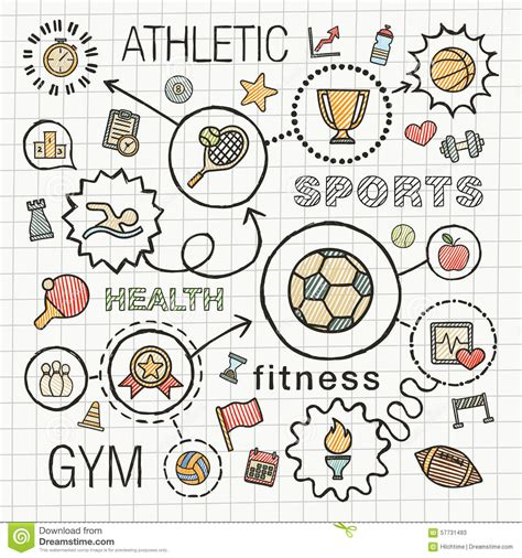 doodle draw design sport draw integrated color icons set stock vector