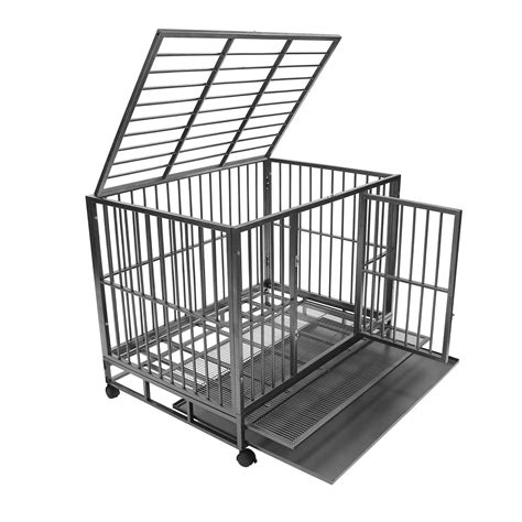 metal kennel heavy duty rolling cage crate kennel house with metal pan ebay