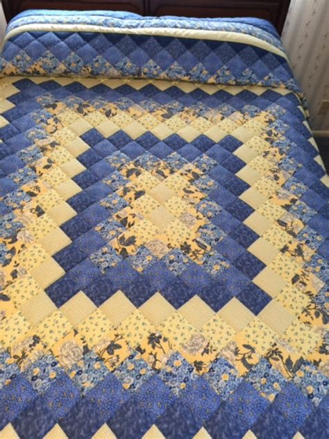 Yellow King Quilt by Blue Yellow King Size Trip Around The World By