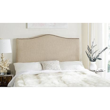 soft headboard safavieh jeneve soft camelback headboard with nailhead
